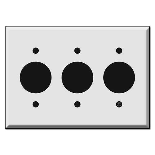 Three Gang Outlet Cover Plates for Round 1.4'' Receptacles