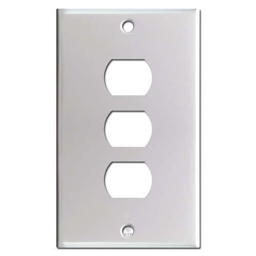 3 Stacked Despard Switch Cover Plates - Brushed Aluminum