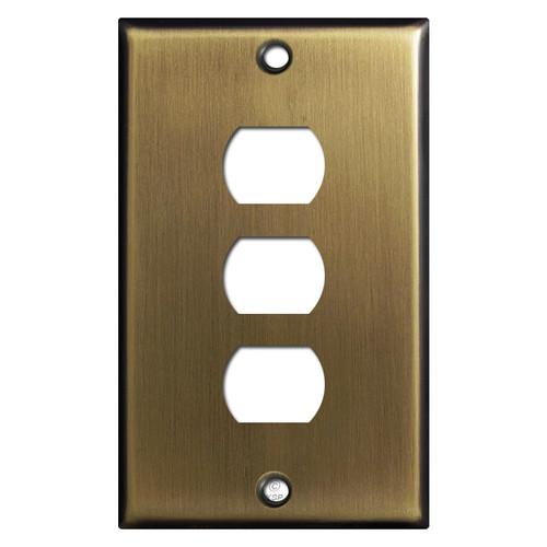 Three Despard Light Switch Wall Plates - Antique Brass