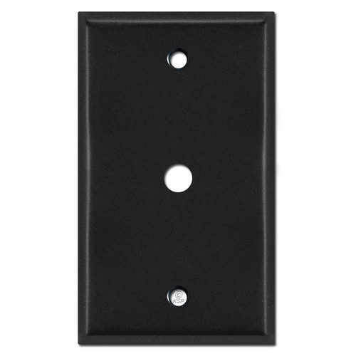"Single Cable TV Jack Wall Plates for 3/8"" Coax Connector - Black"