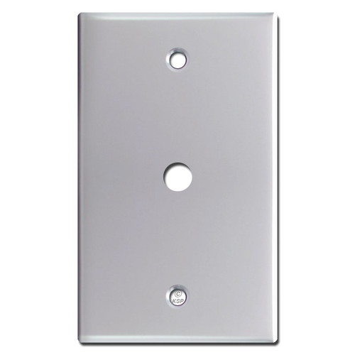 "Single Cable Connector Wall Plate with 3/8"" Opening - Polished Chrome"
