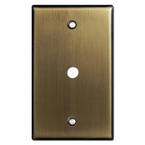 "Cable Wall Plate for 3/8"" TV or Internet Jack - Antique Brass"