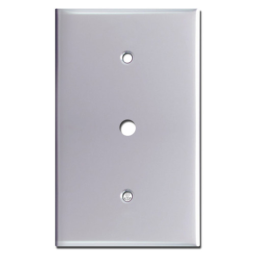 "Jumbo Cable Switch Plates for 3/8"" TV Connector - Polished Chrome"