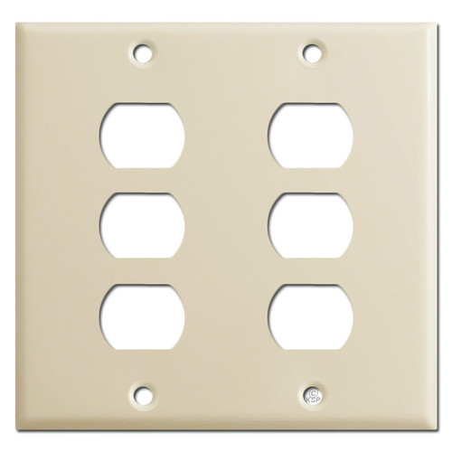 Double Gang Six Switch Despard Wall Plate Covers - Ivory