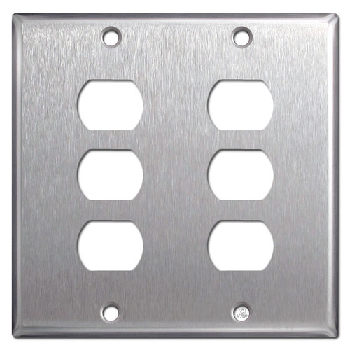 Double 3 Stacked Despard Light Switch Cover - Satin Stainless Steel