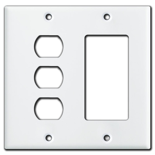 3 Switch Despard & GFI Rocker Combo Wall Plate Cover - White