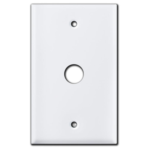 "Phone Cable Wall Switch Plate with 5/8"" Opening - White"