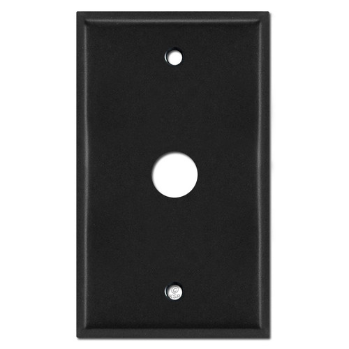 ".625"" Phone Cable Wall Plate Cover with 5/8"" Opening - Black"