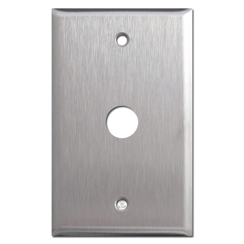 "Spec Grade Stainless Steel Phone Cable Wall Plate with 5/8"" Opening"
