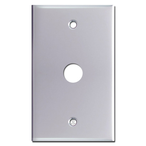 "Phone Cable Switch Plate with .625"" Opening - Polished Chrome"