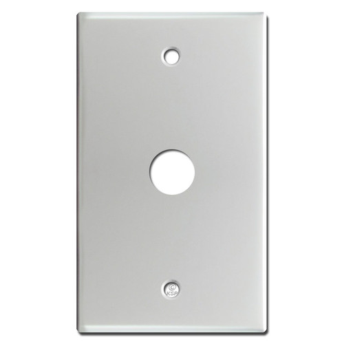 """Phone Cable Wall Switch Plate with 5/8"""" Opening - Brushed Aluminum"""