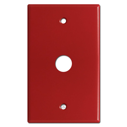 "Phone Cable Wall Plate Cover with .625"" Opening - Red"