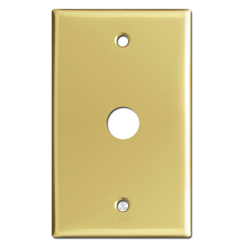 "5/8"" Phone Cable Wall Switch Plate with 5/8"" Opening - Polished Brass"