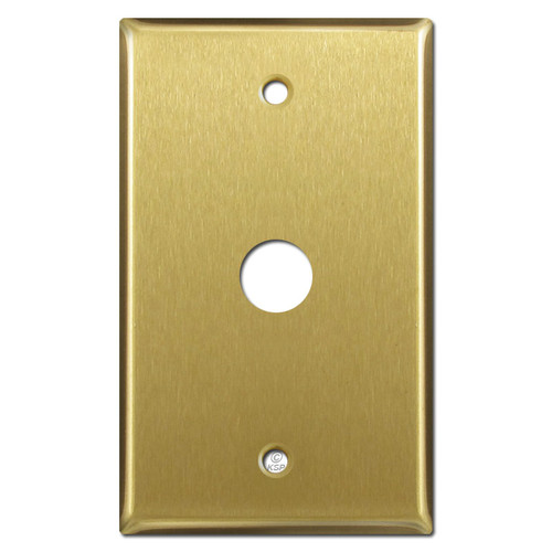 """Phone Cable Cover Plate with 5/8"""" Opening - Satin Brass"""