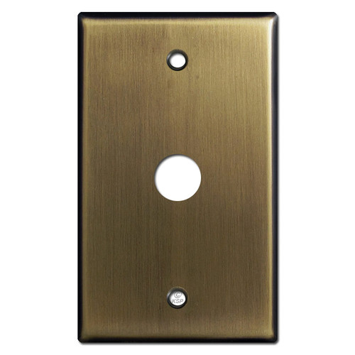 "Phone Cable Cover Wall Plate with 5/8"" Opening - Antique Brass"