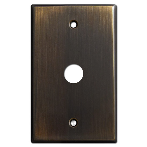 """5/8"""" Phone Cable Outlet Plate - Oil Rubbed Bronze"""