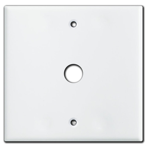 """2 Gang Single Centered 5/8"""" Phone Cable Outlet Cover Plate - White"""