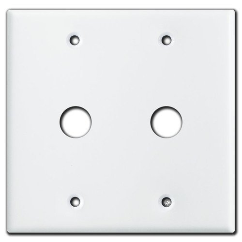 """2 Gang 5/8"""" Phone Cable Outlet Plates - White"""