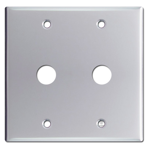 "Double 5/8"" Openings Phone Cable Wall Plate - Polished Chrome"
