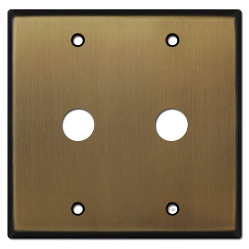 "Double Gang .625"" Phone Cable Wall Plate - Antique Brass"
