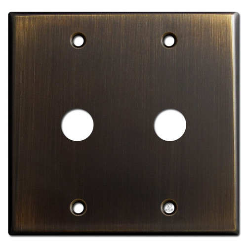 "Two Gang 5/8"" Phone Cable Wall Plate - Oil Rubbed Bronze"
