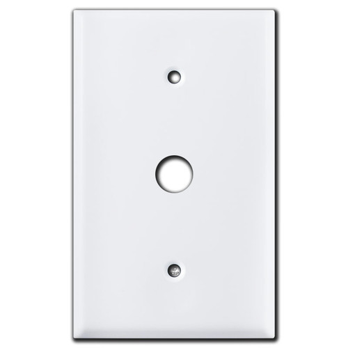 "Oversized .625"" Phone Cable Wall Plate Covers - White"