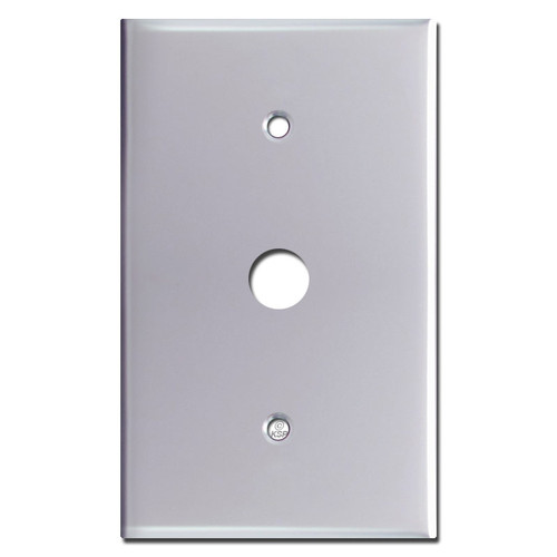 "Oversized .625"" Phone Cable Wall Plate Cover - Polished Chrome"