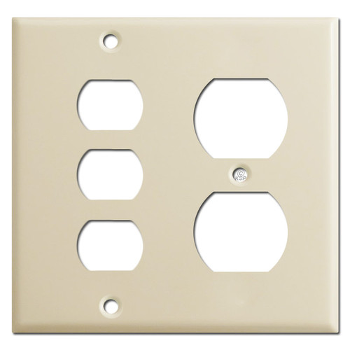 1 Duplex Outlet 3 Stacked Despard Wall Switch Plate Covers - Ivory