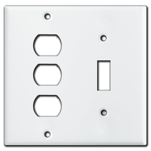1 Toggle 3 Despard Stacked Light Switch Covers - White