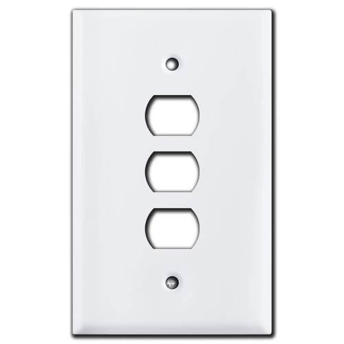 Oversized 3 Despard Stacked Light Switch Plate Covers - White