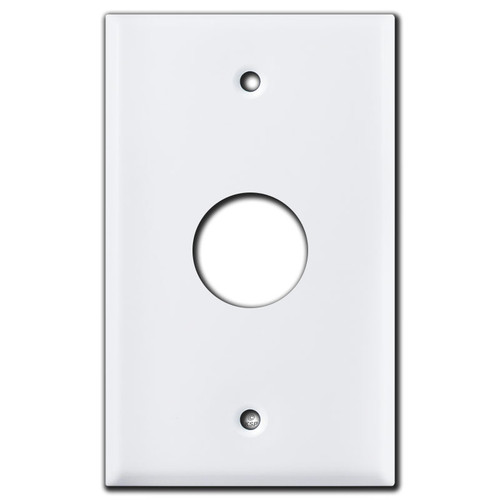 """1.125"""" Round Opening Control Unit Wall Switch Plate - White"""