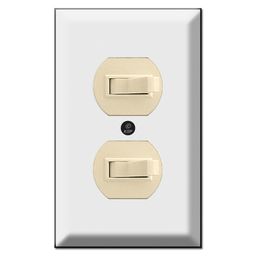 Deep Bevel Edge Twin Horizontal Toggle Switch Plates (switches not included)