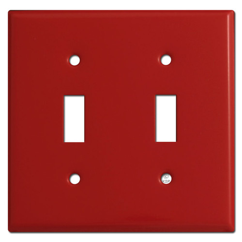 2 Toggle Light Switch Plate Cover - Red