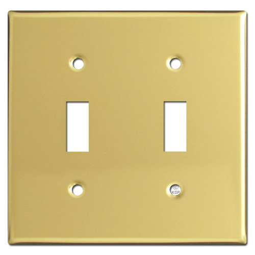 2 Toggle Light Switch Plate - Polished Brass