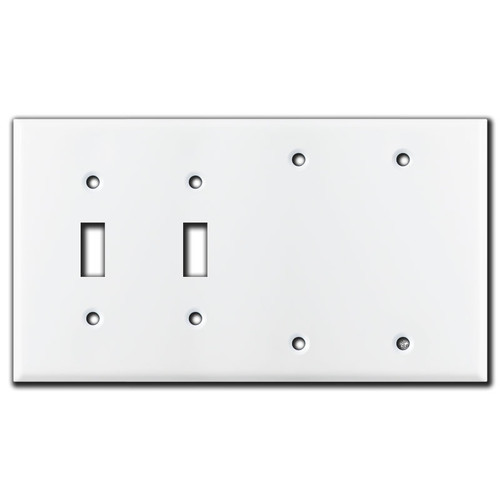 Two Toggle Switch - 2 Blank Wall Plate Covers - White