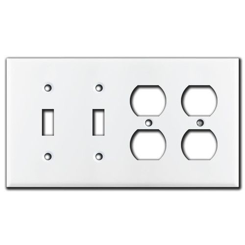 2 Toggle 2 Duplex Outlet 4 Gang Light Switch Wall Plates - White