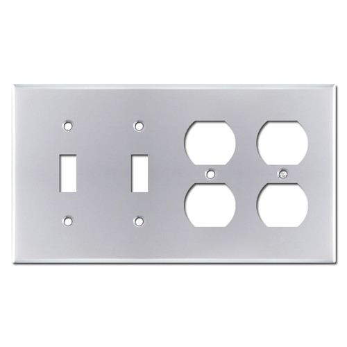 2 Duplex Outlet 2 Toggle Light Switch Plate - Polished Chrome