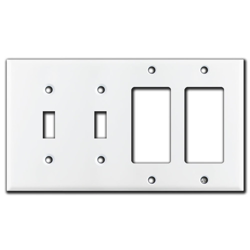2 Toggle & 2 Decora Rocker Switch 4 Gang Wall Plate - White