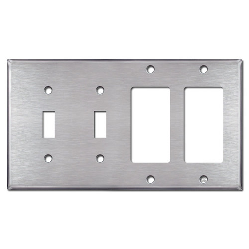 2 Toggle - Double GFCI  Rocker Switch Plates - Satin Stainless Steel