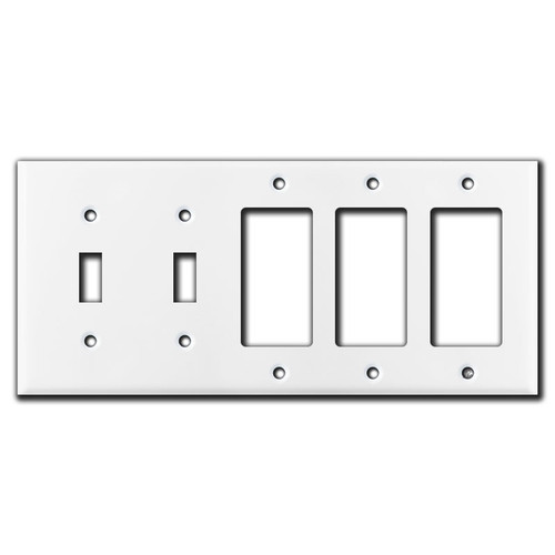 2 Toggle 3 Decora Rocker Switch 5 Gang Wall Plate Covers - White