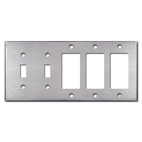 2 Toggle 3 Decora Rocker Switch Plates - Satin Stainless Steel