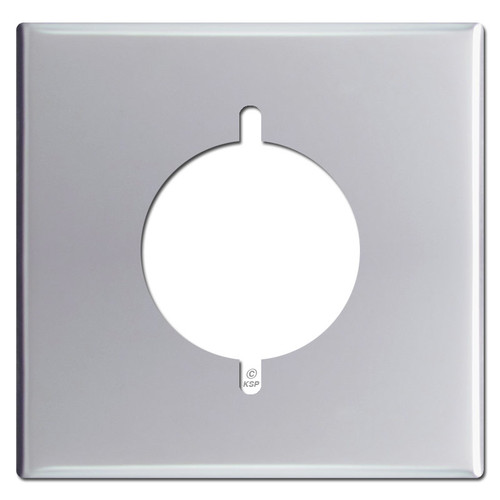 "Double 2.125"" Range or Dryer Outlet Cover Plate - Polished Chrome"