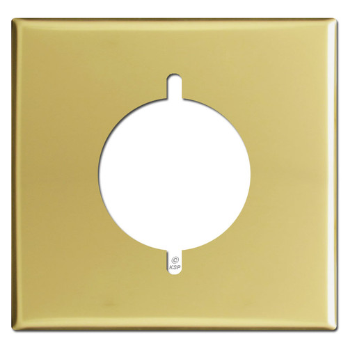 Double Gang Dryer or Range Receptacle Covers - Polished Brass