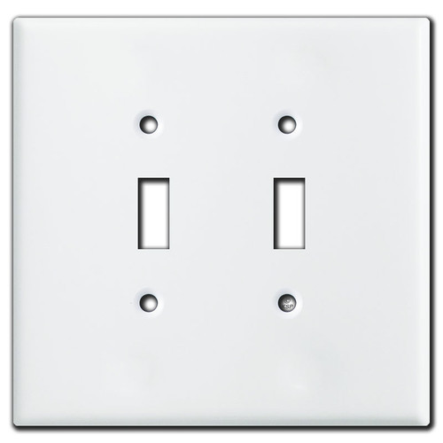 Oversized 2 Toggle Light Switch Plates - White