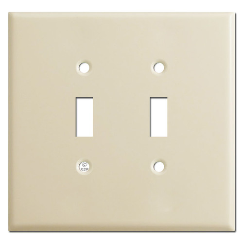 Oversized Double Gang Toggle Switch Plate - Ivory