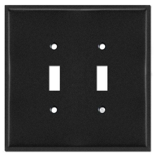 Oversized 2 Toggle Switch Plate Covers - Black