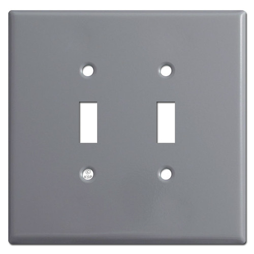 Jumbo Double Toggle Light Switch Plates - Grey