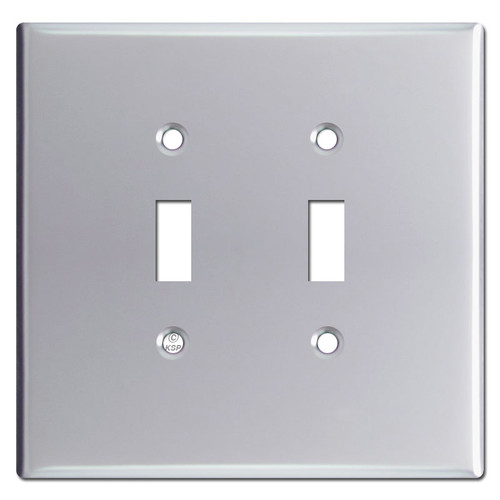 Jumbo Double Gang Toggle Switch Plates - Polished Chrome