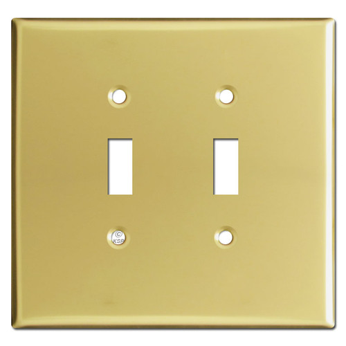Oversized Two Gang Toggle Switch Wallplates - Polished Brass