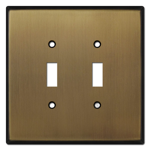 Jumbo 2 Gang Toggle Switch Plates - Antique Brass